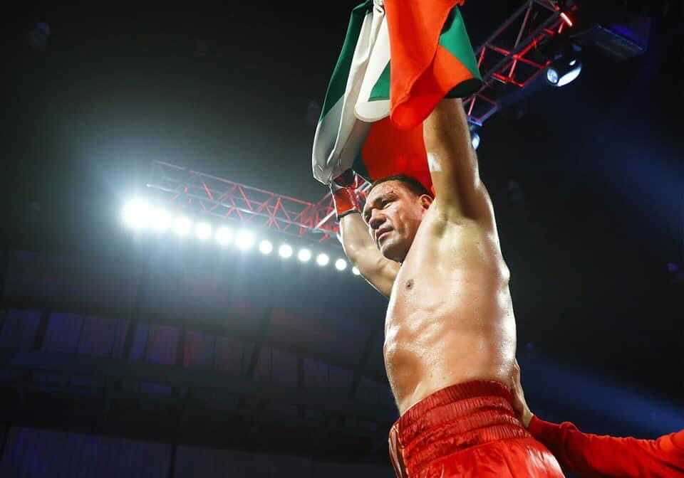 Kubrat Pulev holding the Bulgarian flag